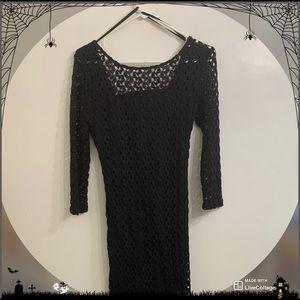 Black Fishnet Maxi dress | Body-con witch dress